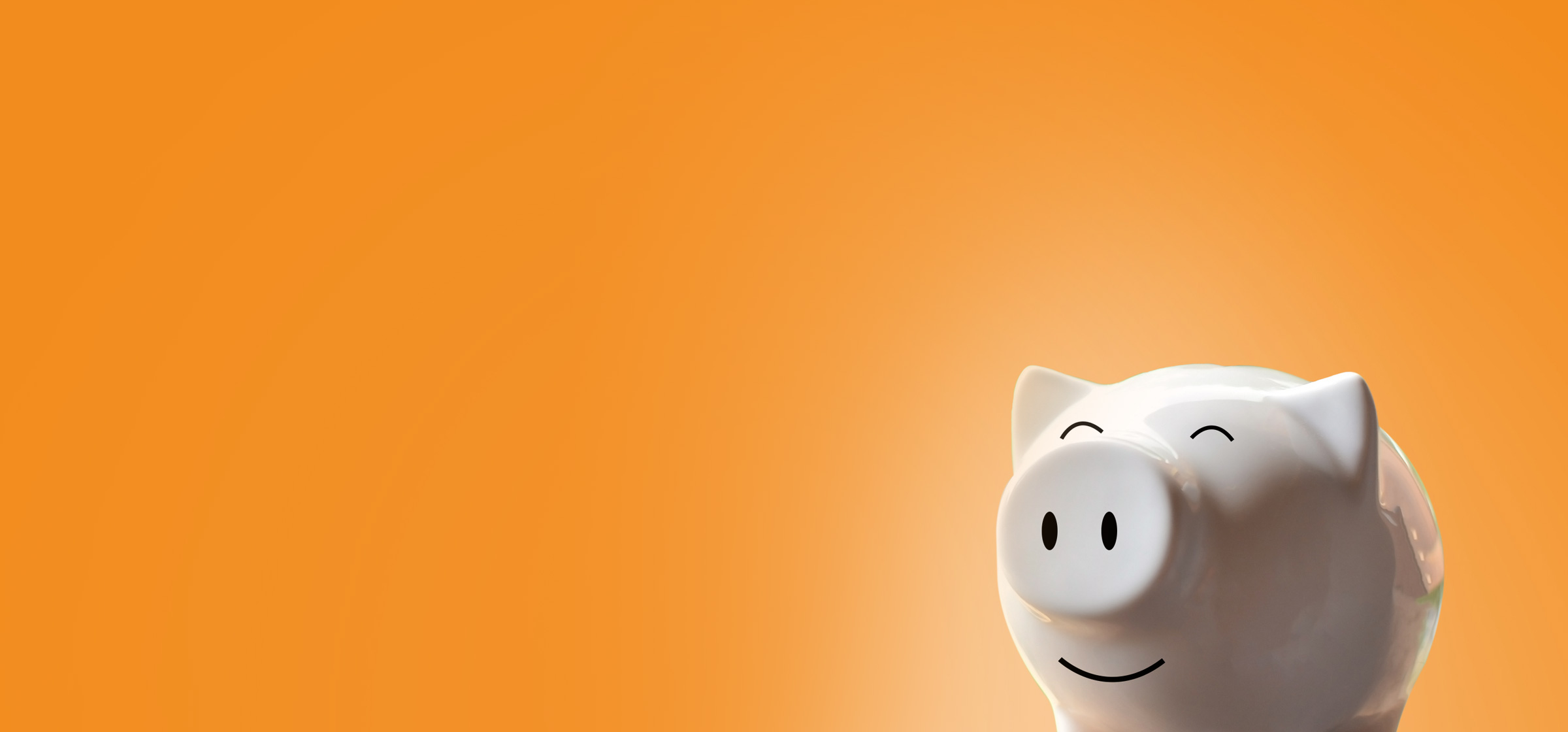 piggy bank on orange background