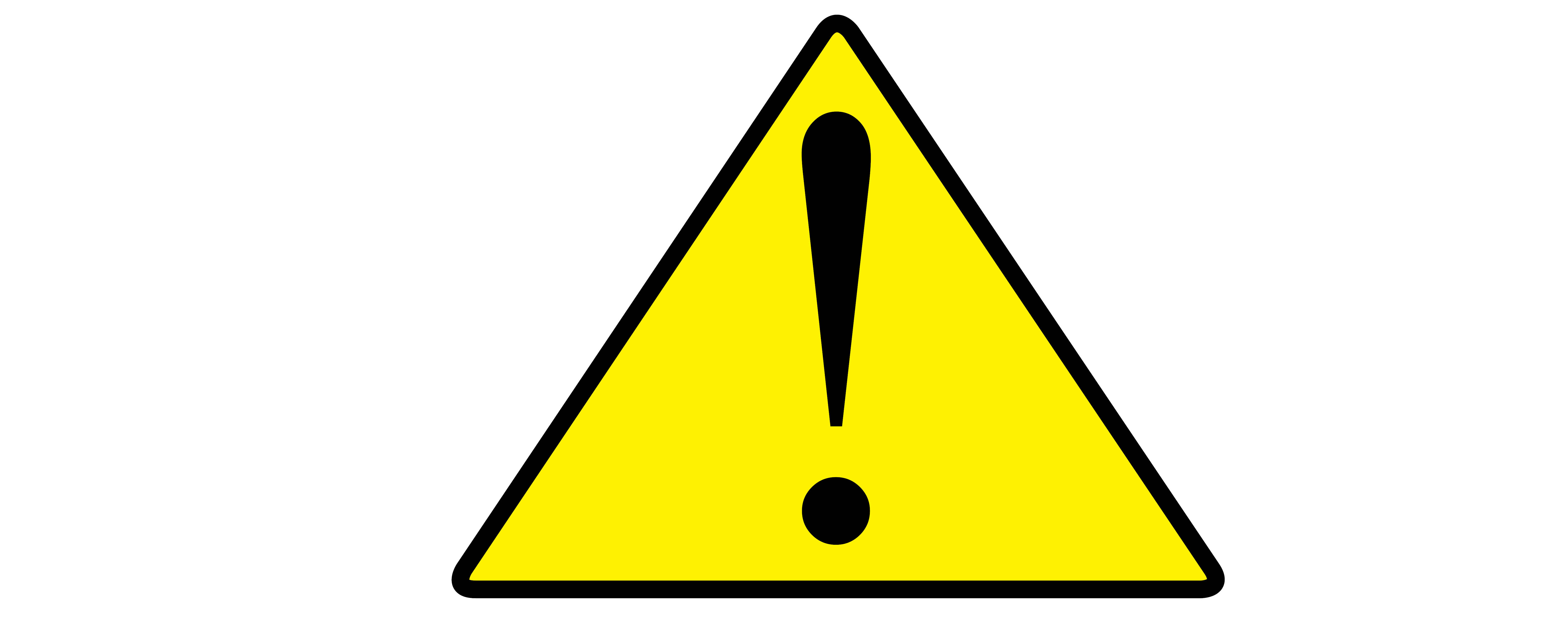 Yellow Triangle Outlined In Black With A Black Exclamation Point In The Middle